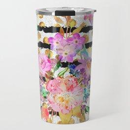 Elegant spring flowers and stripes design Travel Mug