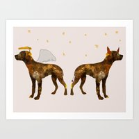puppies Art Prints featuring puppies by shrewmole