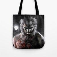 werewolf Tote Bags featuring Werewolf by Joe Roberts