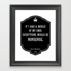 Alice in Wonderland A World Of My Own Quote Framed Art Print