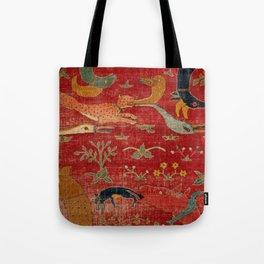 Animal Grotesques Mughal Carpet Fragment Digital Painting Tote Bag