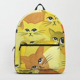 Golden Whimsical Cats Backpack