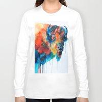 bison Long Sleeve T-shirts featuring Bison by Slaveika Aladjova