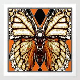 RIBBED WHITE BROWN & BLACK BUTTERFLY WING VEINS Art Print