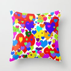 Beaucoup de coeurs de couleur Throw Pillow