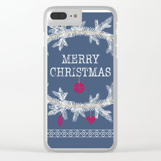 Merry christmas and happy new year greeting card wreath background Clear iPhone Case