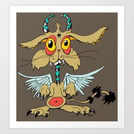 Evil Flying Feline Jackalope  Art Print