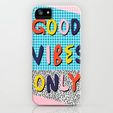 Check it - good vibes happy smiles fun modern memphis throwback art 1980's 80's 80s 1980s 1980 neon  iPhone (5, 5s) Slim Case