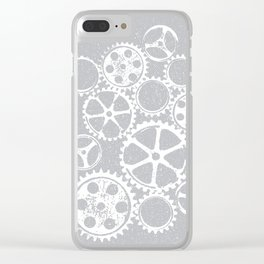 Old vintage rusty gears - white & gray Clear iPhone Case