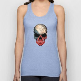 Dark Skull with Flag of Czech Republic Unisex Tank Top