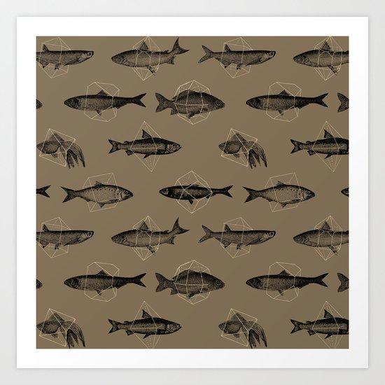 Fishes In Geometrics (Dark Sand) Art Print