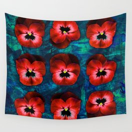 9 red on blue & green Wall Tapestry