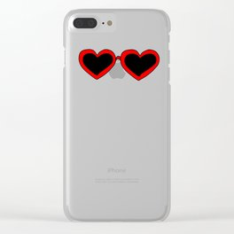 Red Heart Shaped Sunglasses Clear iPhone Case