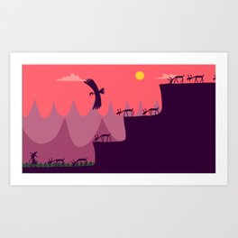 THE GOAT HERDER AND HIS LOTS AND LOTS AND LOTS OF GOATS - MIND THAT BIRDY! Art Print