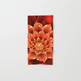 Red Dahlia Fractal Flower with Beautiful Bokeh (Vivid Crimson) Hand & Bath Towel