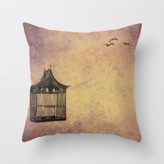 birds and freedom concept Throw Pillow