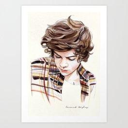H plaid watercolors Art Print