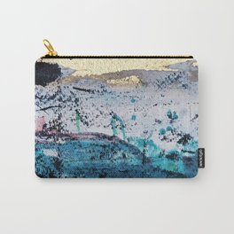 Twilight: a beautiful, abstract watercolor + mixed-media piece in blue, gold, purple, pink, + black Carry-All Pouch