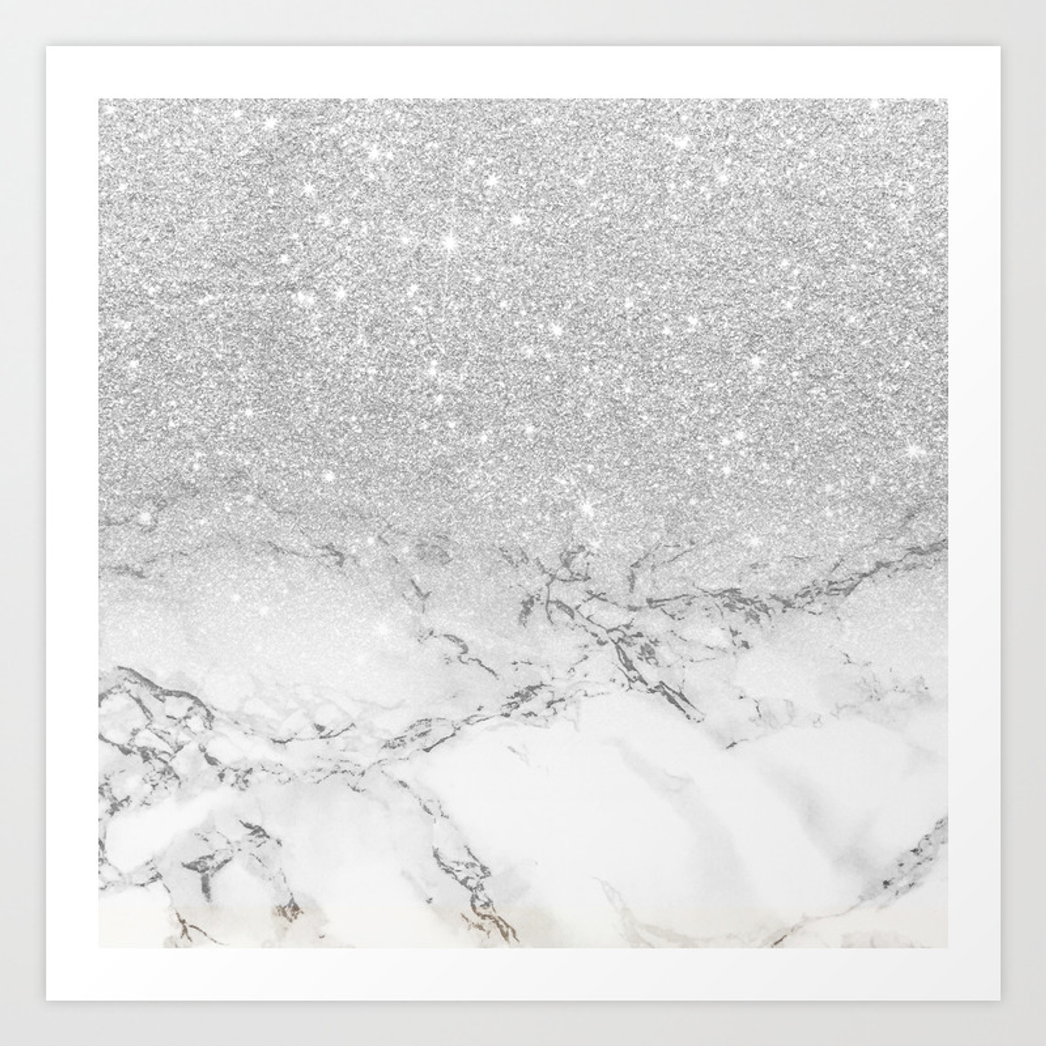 Modern Faux Grey Silver Glitter Ombre White Marble Art Print By Girlytrend Society6