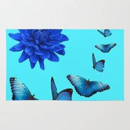 BLUE DAHLIA FLOWER & BLUE BUTTERFLIES ALLURE Rug