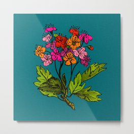 Antique Floral in Bright Spring Hues Metal Print
