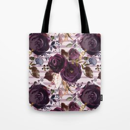 Deep Burgundy Blossom on Soft Pink with Hand Painted Stripes  Tote Bag