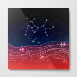 Sagittarius Zodiac Constellation Design Metal Print