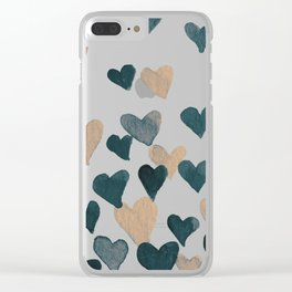 Valentine's Day Watercolor Hearts - neutral Clear iPhone Case