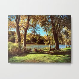 Rustic River and Tree Landscape Metal Print
