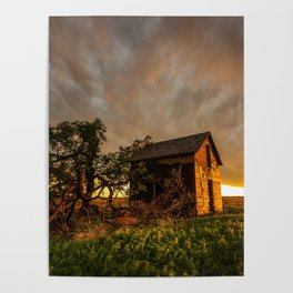 Basking in the Glow - Old Barn In Warm Sunlight in Oklahoma Poster