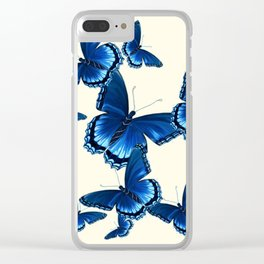 DECORATIVE PATTERNED BLUE  BUTTERFLY FLOCK Clear iPhone Case