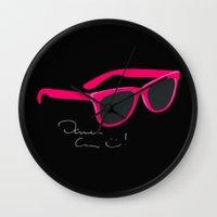 darren criss Wall Clocks featuring Darren Criss Glasses by byebyesally