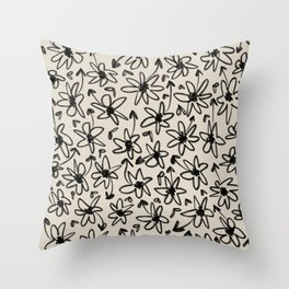 Hand Drawn Flowers Throw Pillow