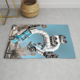 Trucks Sculpture // Desert Palm Trees Teal Blue Sky Downtown Las Vegas Artist Rug