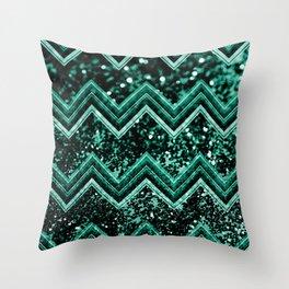 Emerald Glitter Chevron #1 #shiny #decor #art #society6 Throw Pillow