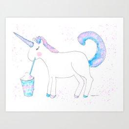Ms Unicorn Sips A Frappuccino Art Print