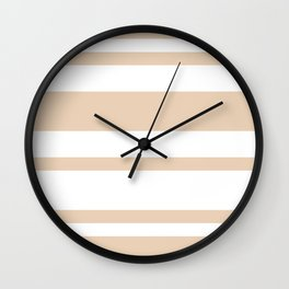 Mixed Horizontal Stripes - White and Pastel Brown Wall Clock