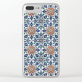 Iznik Tile Pattern Red Blue White Clear iPhone Case