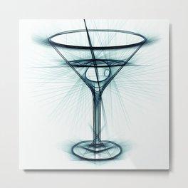 Martini Glass Sketch Metal Print