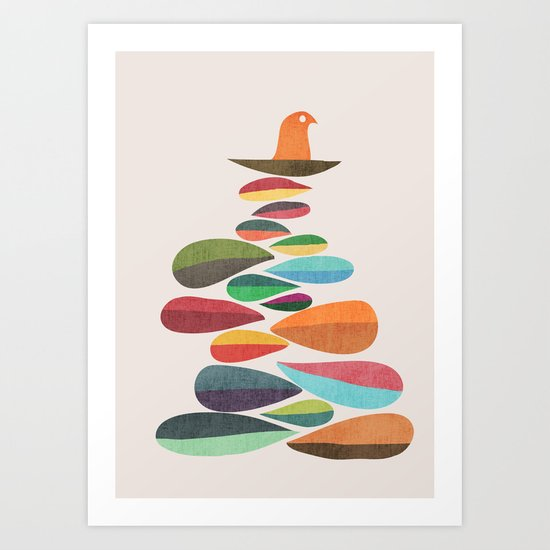 Bird nesting on top of pebbles hill Art Print