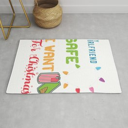 Girlfriend Home Safe for Christmas Father Military Deployment  Rug