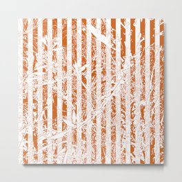 Orange Floral Lines Wallpaper Metal Print