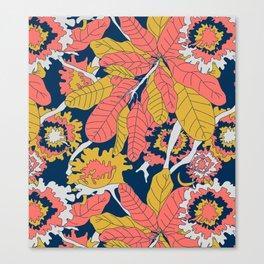 Limited Color Palette Bold Jungle Leaf Floral Canvas Print