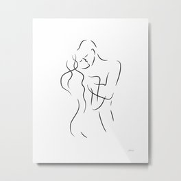 Kiss drawing. Romantic art for bedroom decor. Metal Print