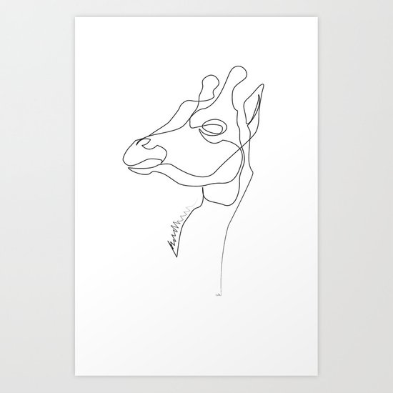 Line Drawing Poster : Giraffe line art print by quibe society