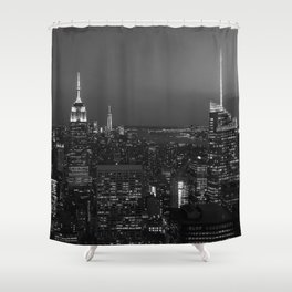 The Empire State and the city. Black & white photography Shower Curtain