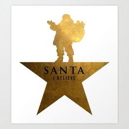 Santa Christmas Star Hamilton Parody Art Print