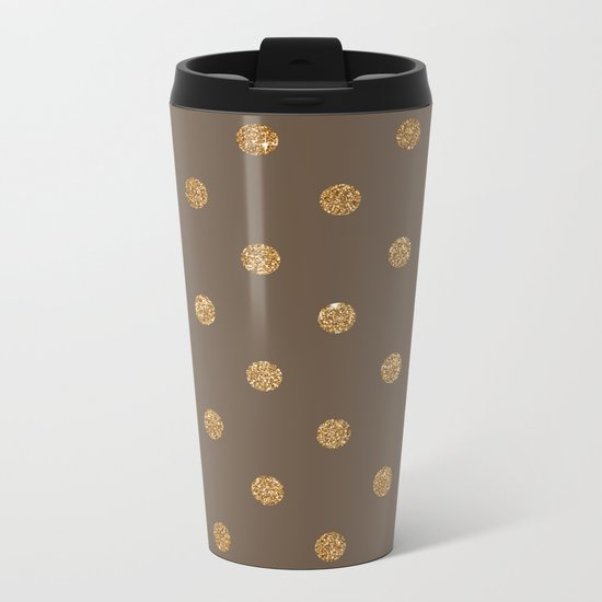 Brown Gold Glitter Dots Metal Travel Mug