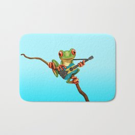 Tree Frog Playing Acoustic Guitar with Flag of Bahamas Bath Mat