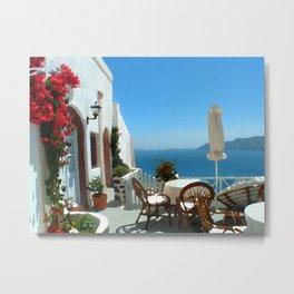 Santorini Villa Metal Print